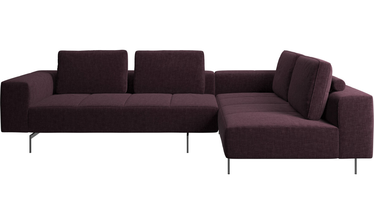 Corner sofas - Amsterdam corner sofa with lounging unit - Red - Fabric