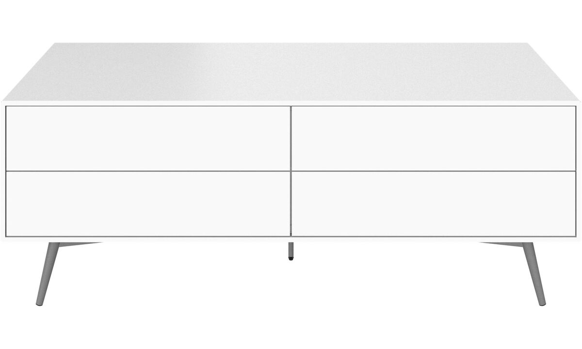 New designs - Fermo media unit with drop down doors - White - Lacquered