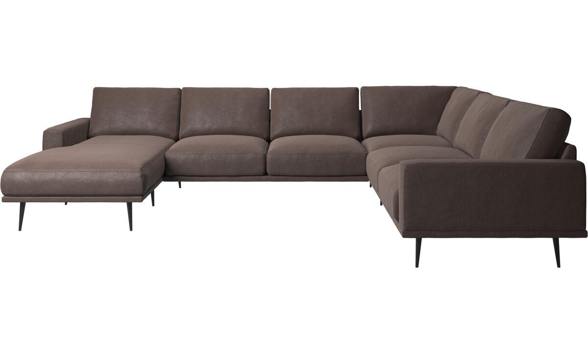 Угловые диваны - угловой диван Carlton с модулем для отдыха - Коричневого цвета - Кожа