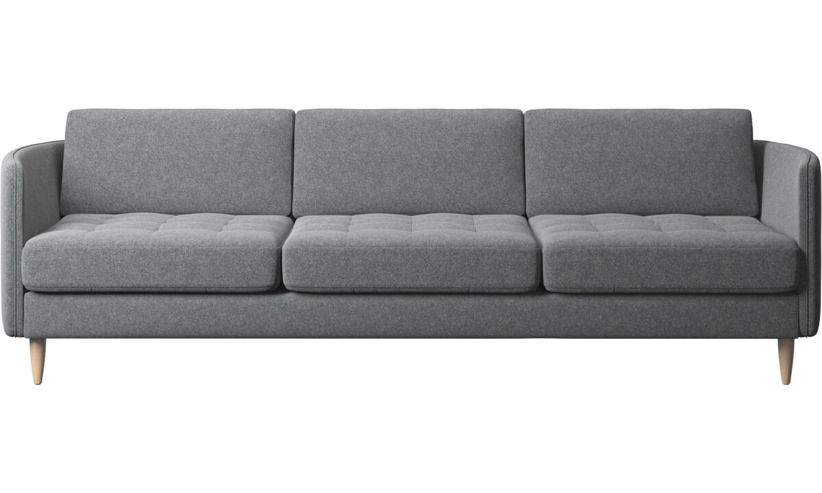 3 seater sofas - Osaka sofa, tufted seat - Grey - Fabric
