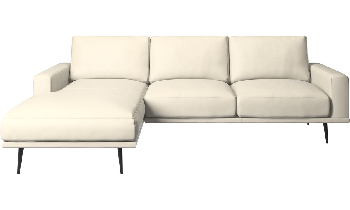 Chaise lounge sofas - Carlton sofa with resting unit - White - Leather