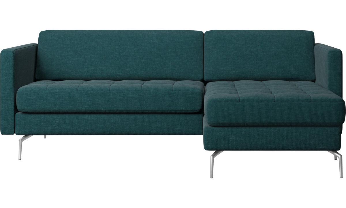 Chaise longue sofas - Osaka sofa with resting unit, tufted seat - Blue - Fabric
