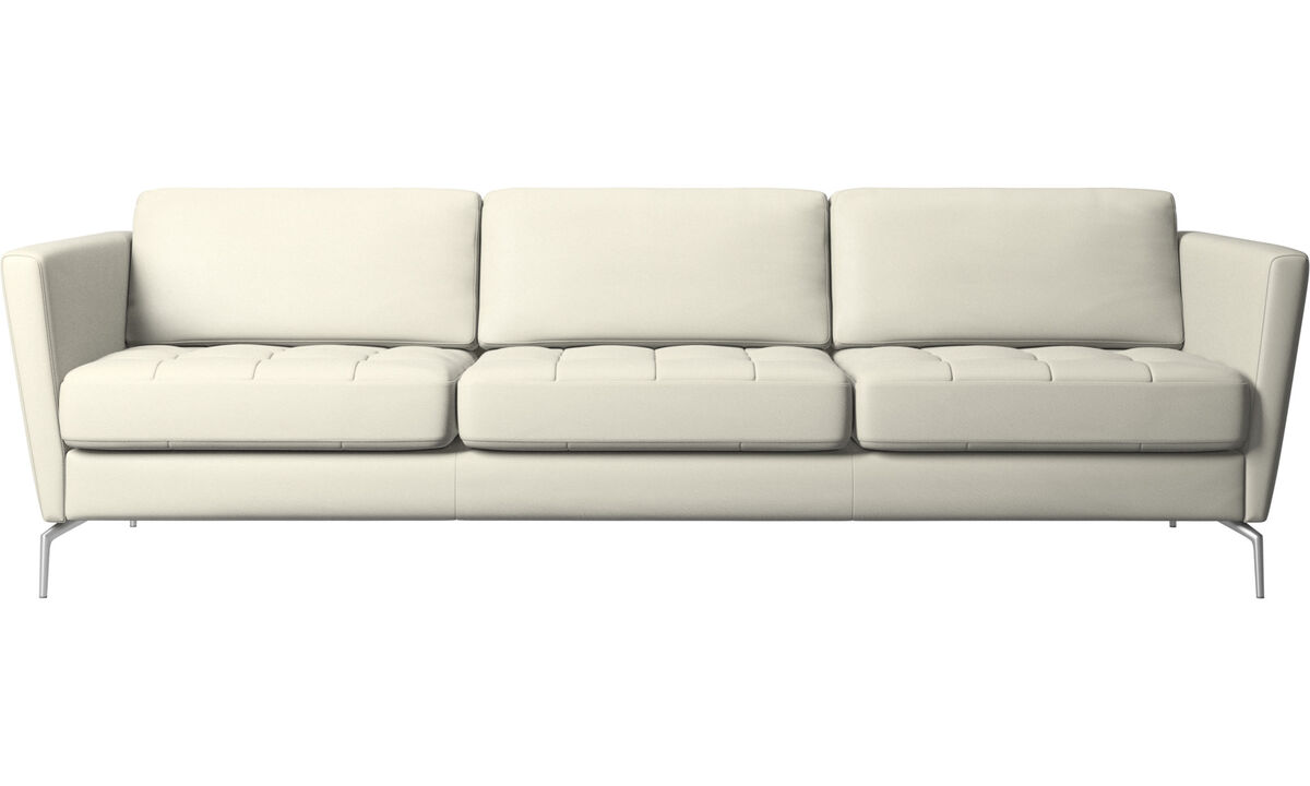 3 seater sofas - Osaka sofa, tufted seat - Beige - Leather