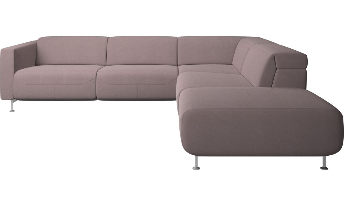 Recliner sofas - Parma reclining corner sofa with open end - Purple - Fabric