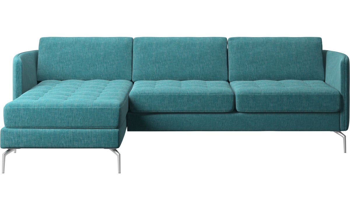 Chaise longue sofas - Osaka sofa with resting unit, tufted seat - Blue - Fabric