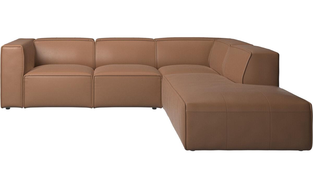 Sofás reclinables - Sofá esquinero Carmo con movimiento - En marrón - Piel