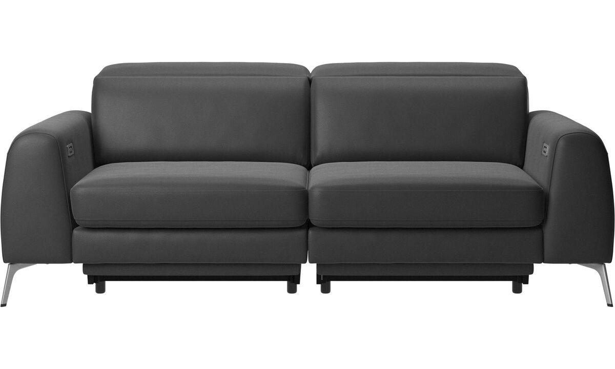 3 seater sofas - Madison sofa with electric seat, head and foot rest motion (rechargeable lithium battery included) - Black - Leather
