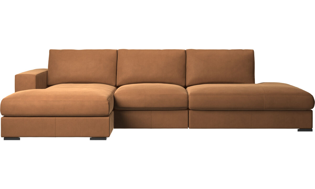 3 seater sofas - Cenova divano con lounge e penisola - Marrone - Pelle