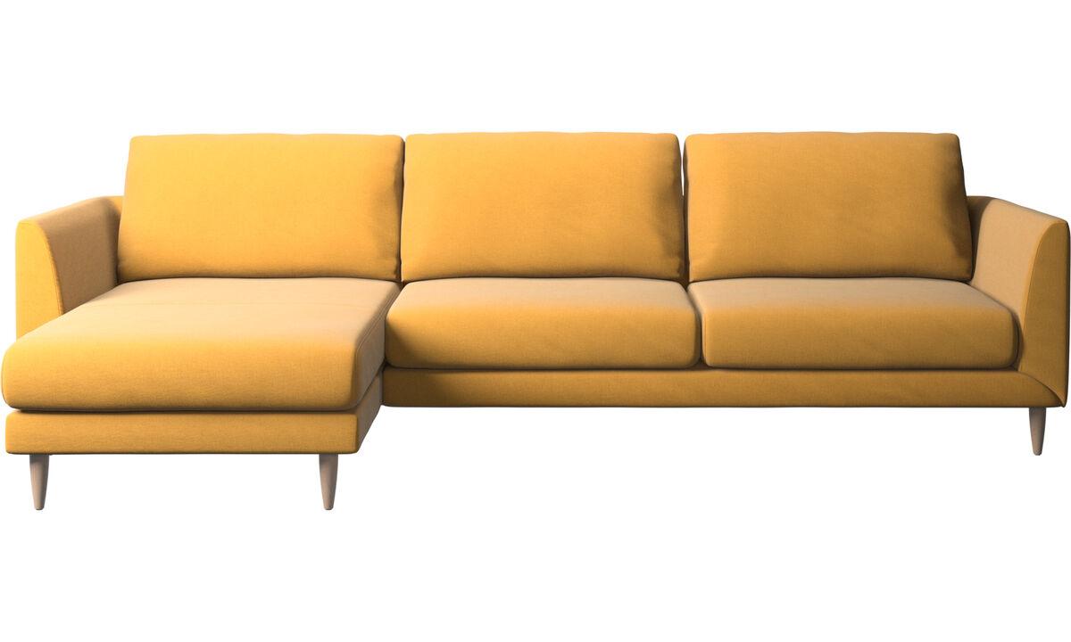 Sofás con chaise longue - Sofá Fargo con módulo chaise-longue - En amarillo - Tela