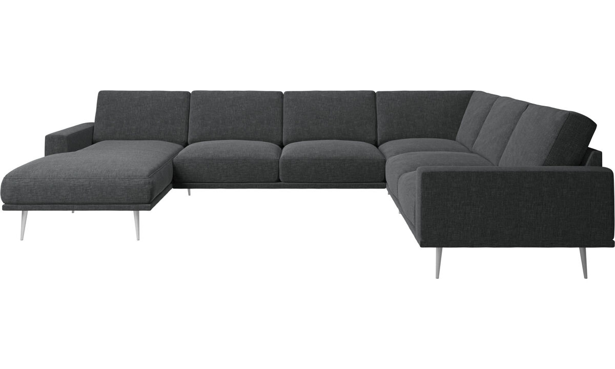 New designs - Carlton corner sofa with resting unit - Grey - Fabric