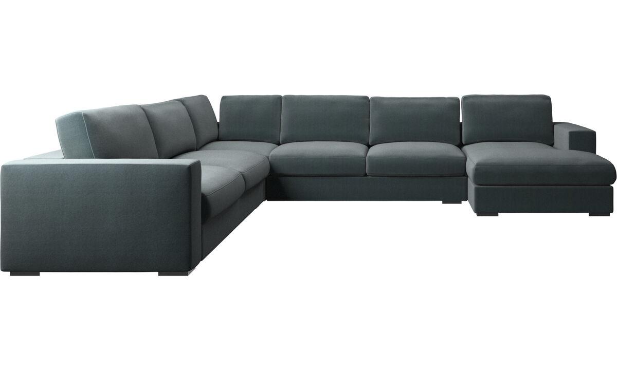 Canapés avec chaise longue - canapé d'angle Cenova avec méridienne - Bleu - Tissu