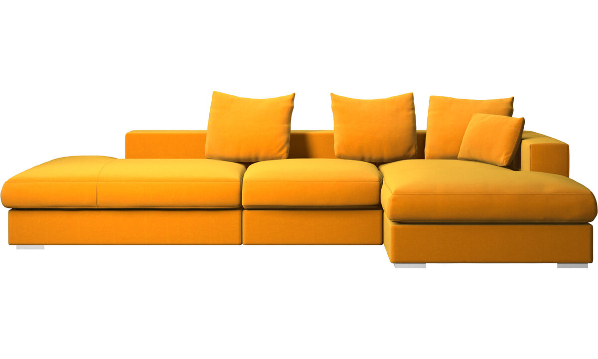 Sofás de 3 plazas - sofá Cenova con módulos de descanso y chaise-longue - Naranja - Tela
