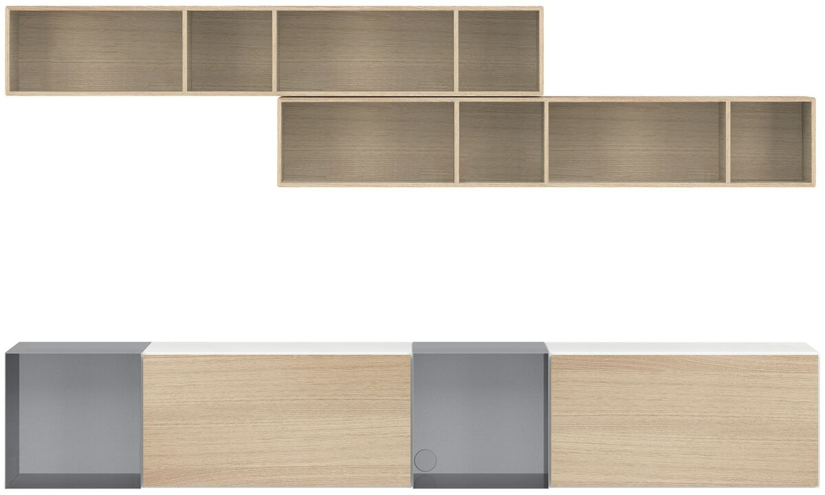 Wall systems - Lugano wall mounted wall system with drawers - White