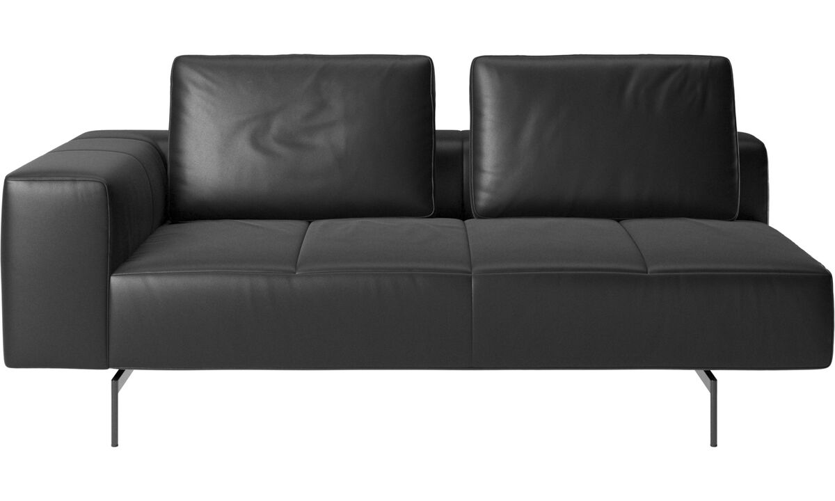 2.5 seater sofas - Amsterdam 2,5 seating module, armrest left - Black - Leather