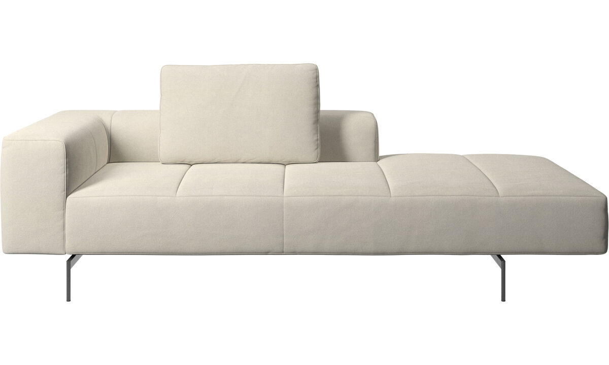Chaise lounge sofas - Amsterdam Iounging module for sofa, armrest left, open end right - White - Fabric