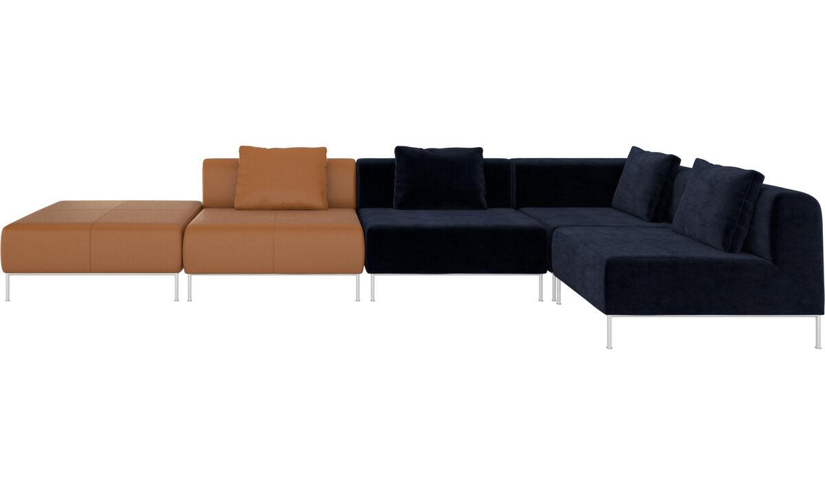 Sofaer med hvilemodul - Miami hjørnesofa med puf på venstre side - Blå - Stof