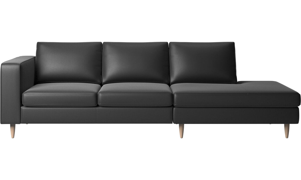 Sofas with open end - Indivi 2 sofa with lounging unit - Black - Leather