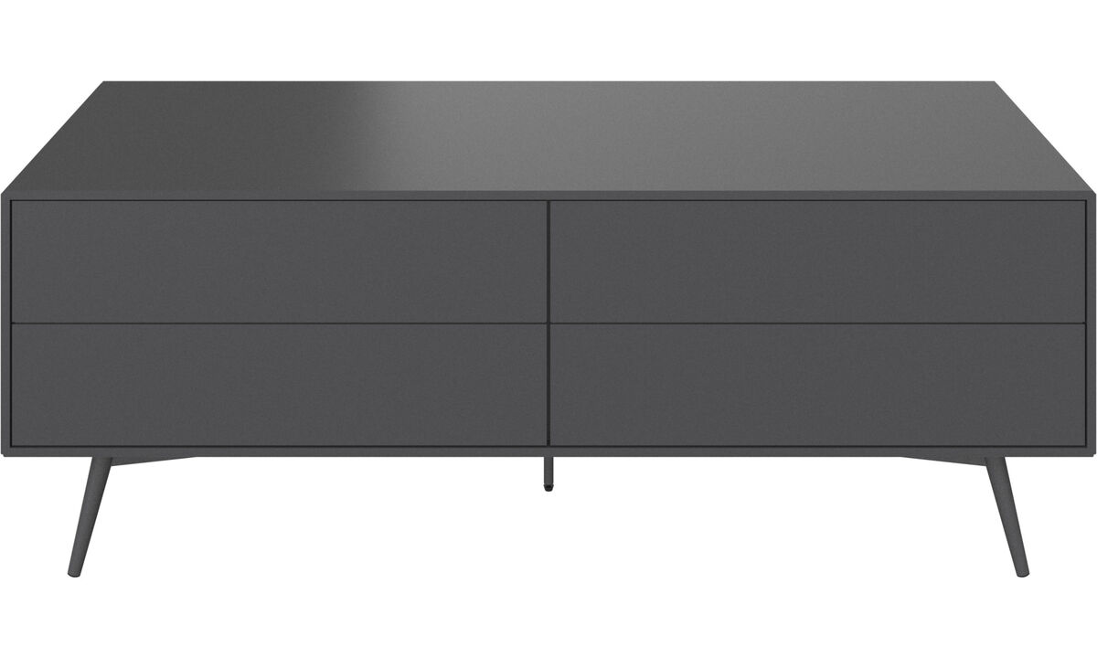 Tv units - Fermo media unit with drop down doors - Grey - Lacquered