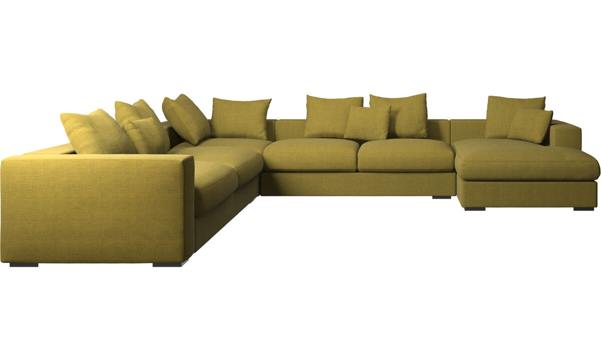 Corner sofas - Cenova corner sofa with resting unit - Yellow - Fabric