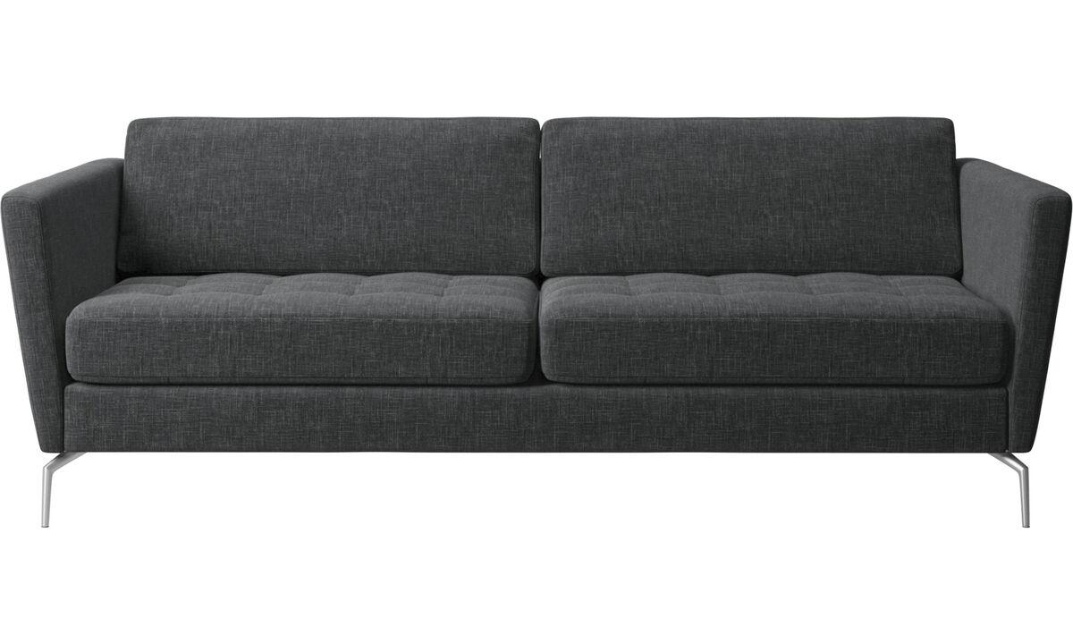 Sofás de 2 plazas y media - sofá Osaka, asiento capitoné - En gris - Tela