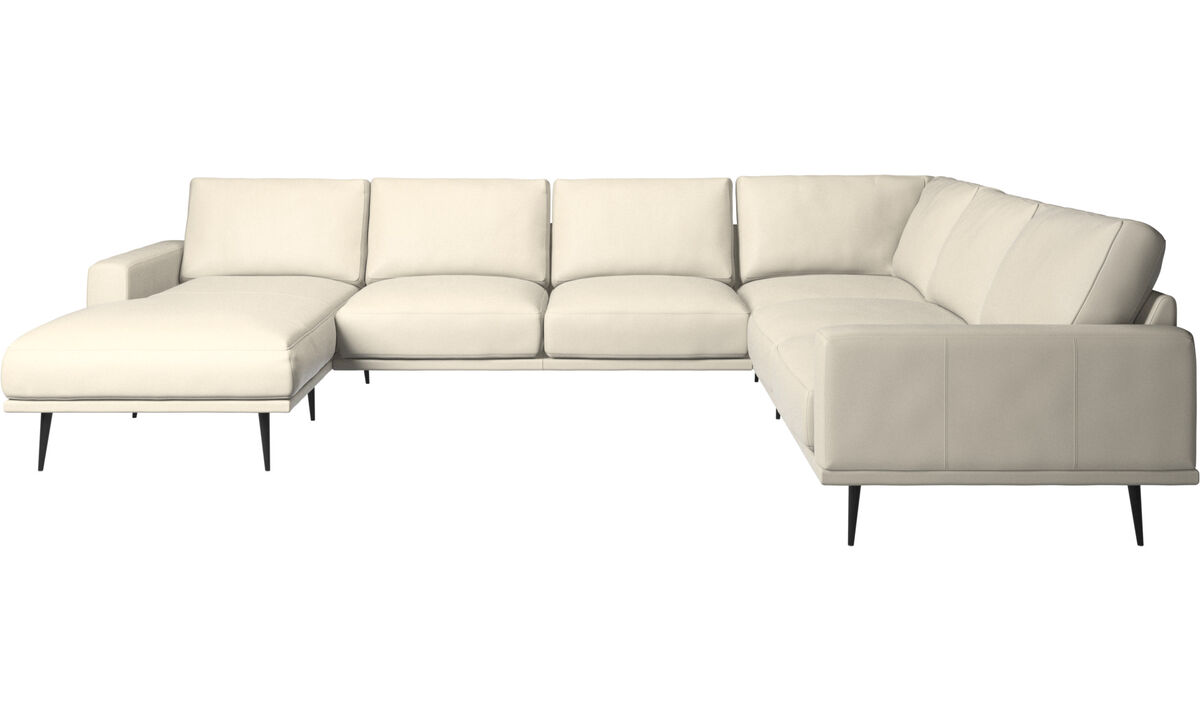 Chaise lounge sofas - Carlton corner sofa with resting unit - White - Leather