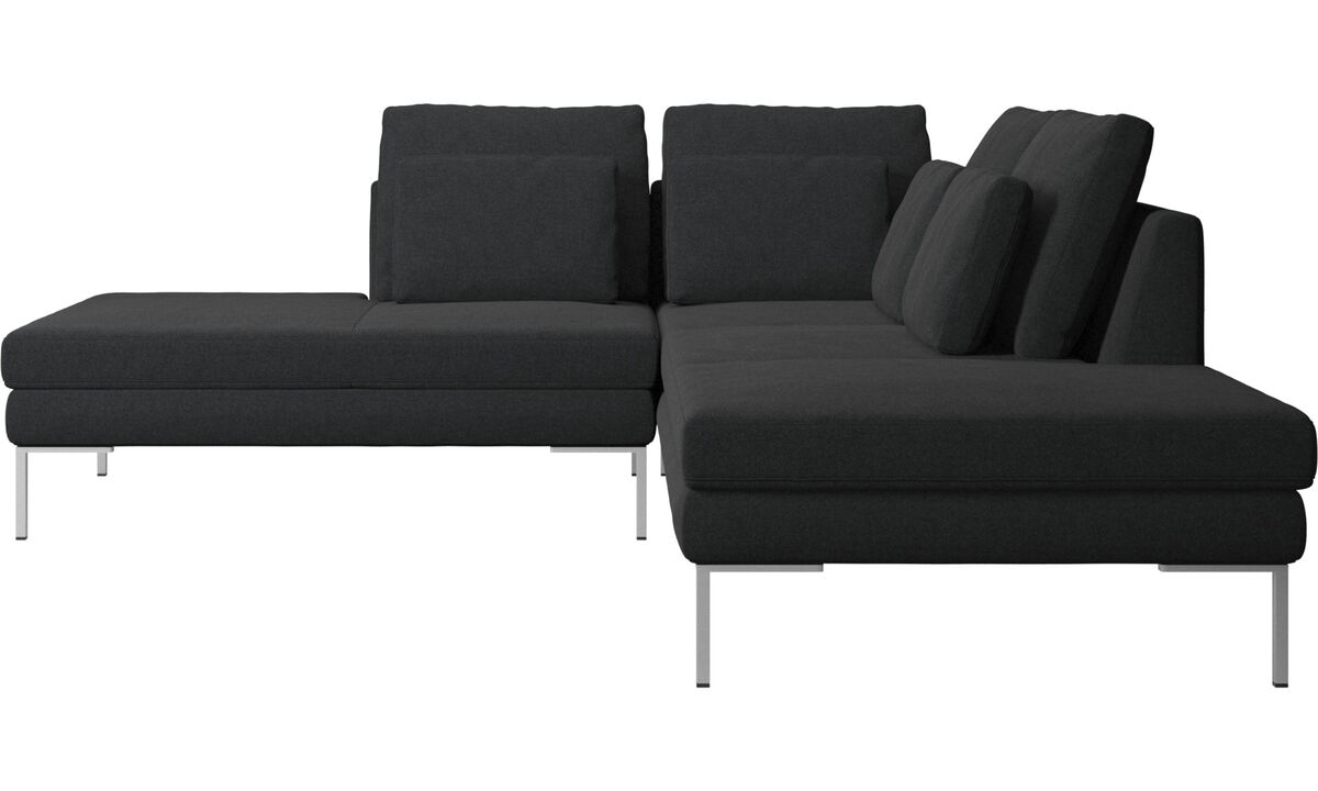 Sofas with open end - Istra 2 sofa with lounging unit - Gray - Fabric