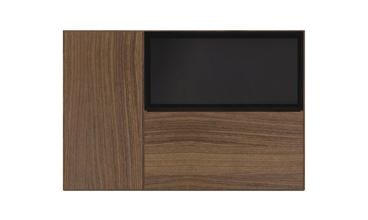 Wall Units - Lugano wall mounted wall system with drop down door - Brown - Walnut