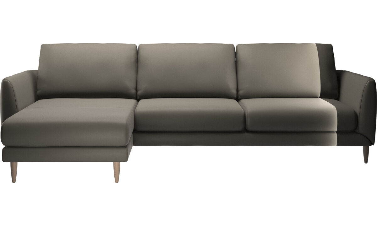 Sofás com chaise - sofá Fargo chaise-longue - Cinza - Couro