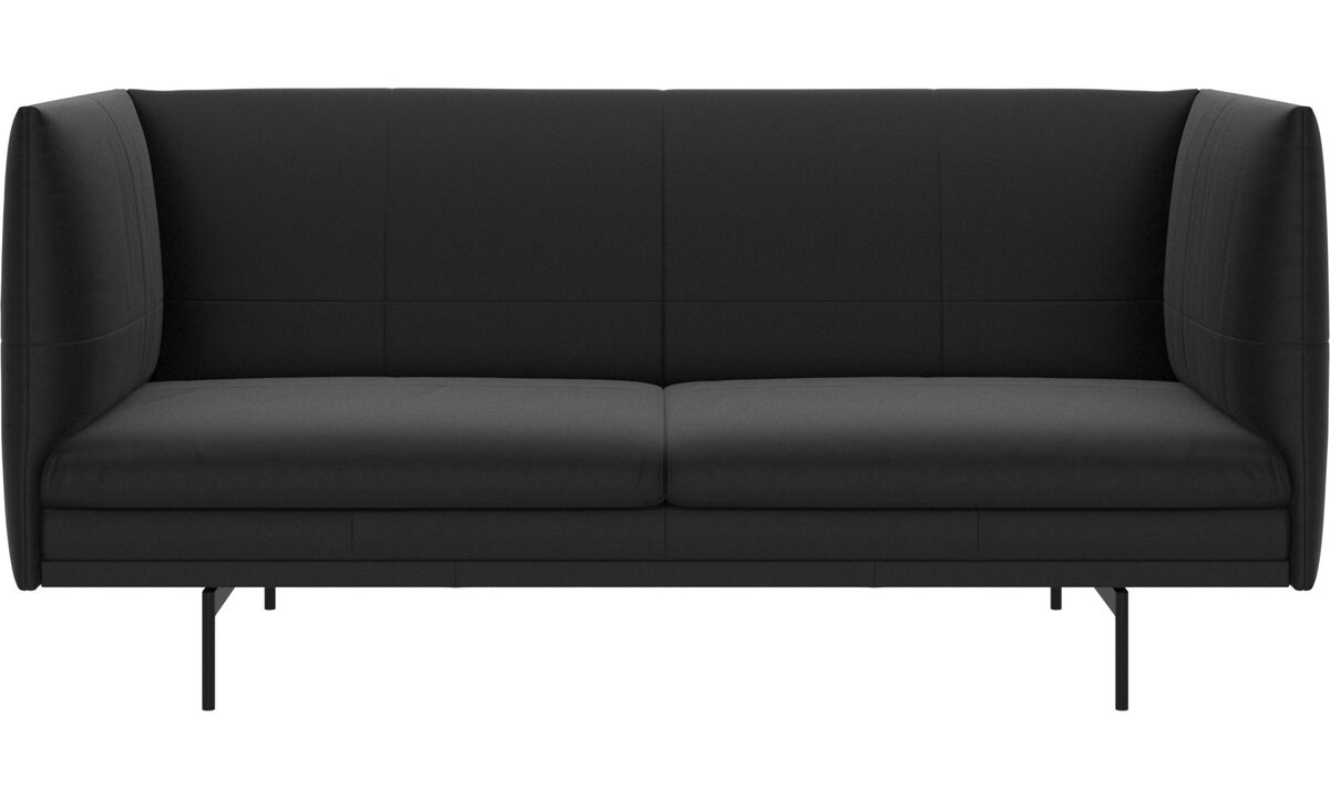 2 seater sofas - Nantes sofa - Black - Leather