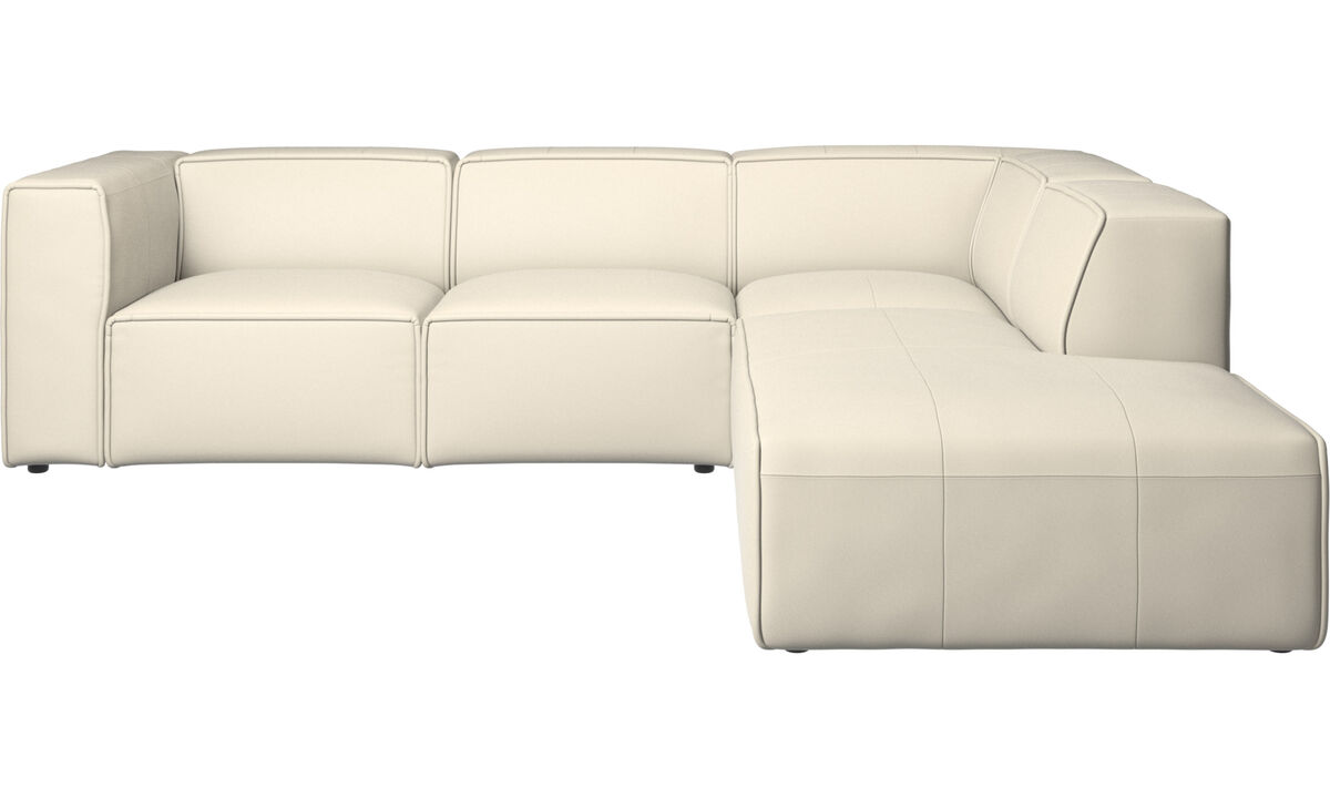 Sofás reclinables - Sofá esquinero Carmo con movimiento - Blanco - Piel