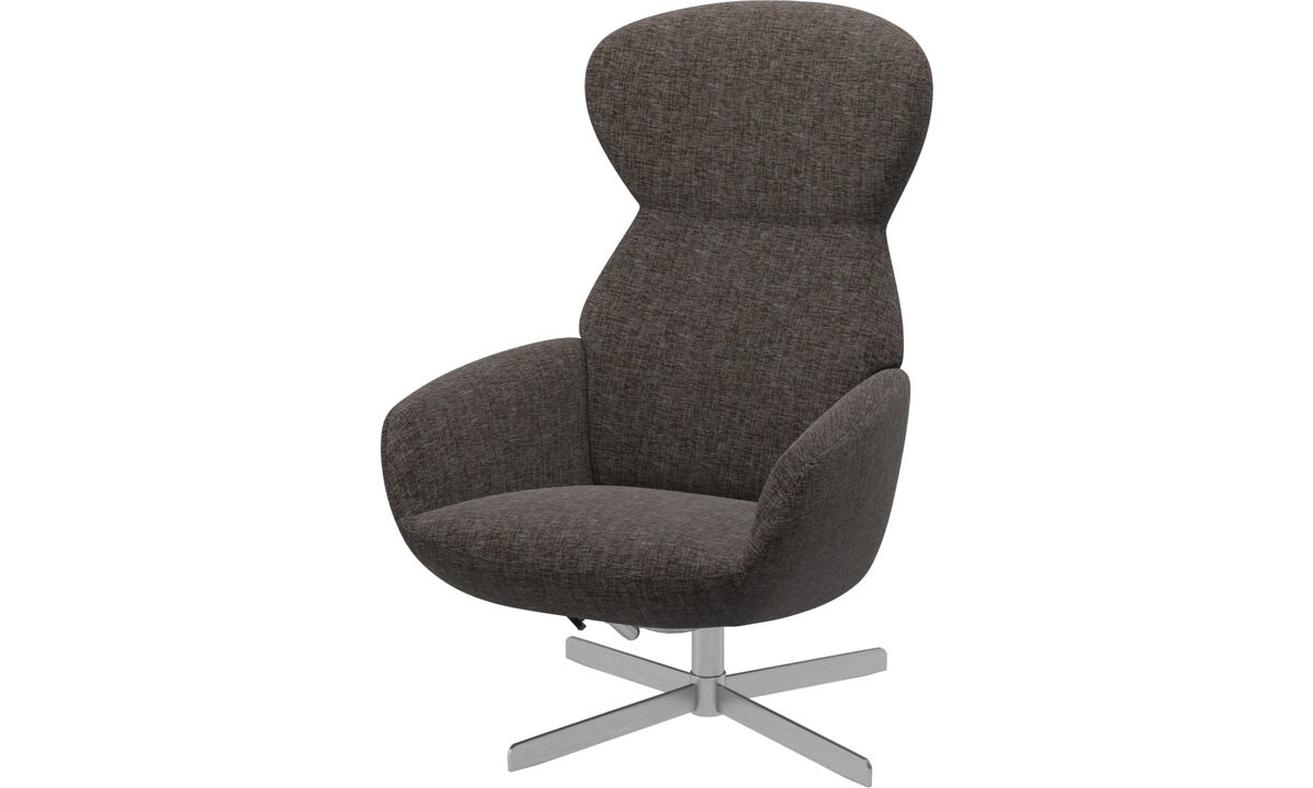 Recliners - Athena chair with reclining back function and swivel base - Brown - Fabric