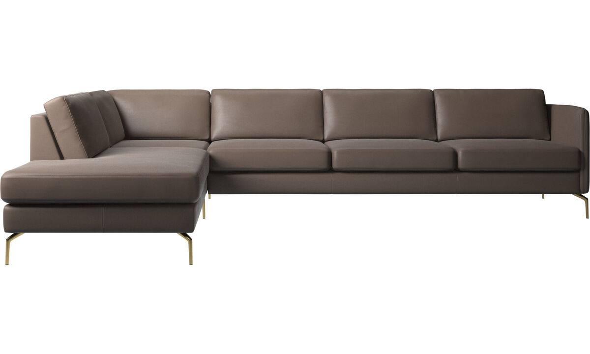 Sofas with open end - Osaka corner sofa with lounging unit, regular seat - Grey - Leather