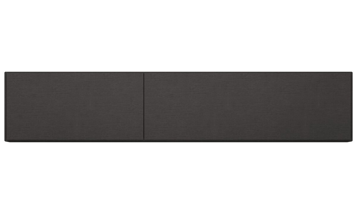 Wall systems - Lugano wall mounted cabinet with flip-up doors - Black - Oak