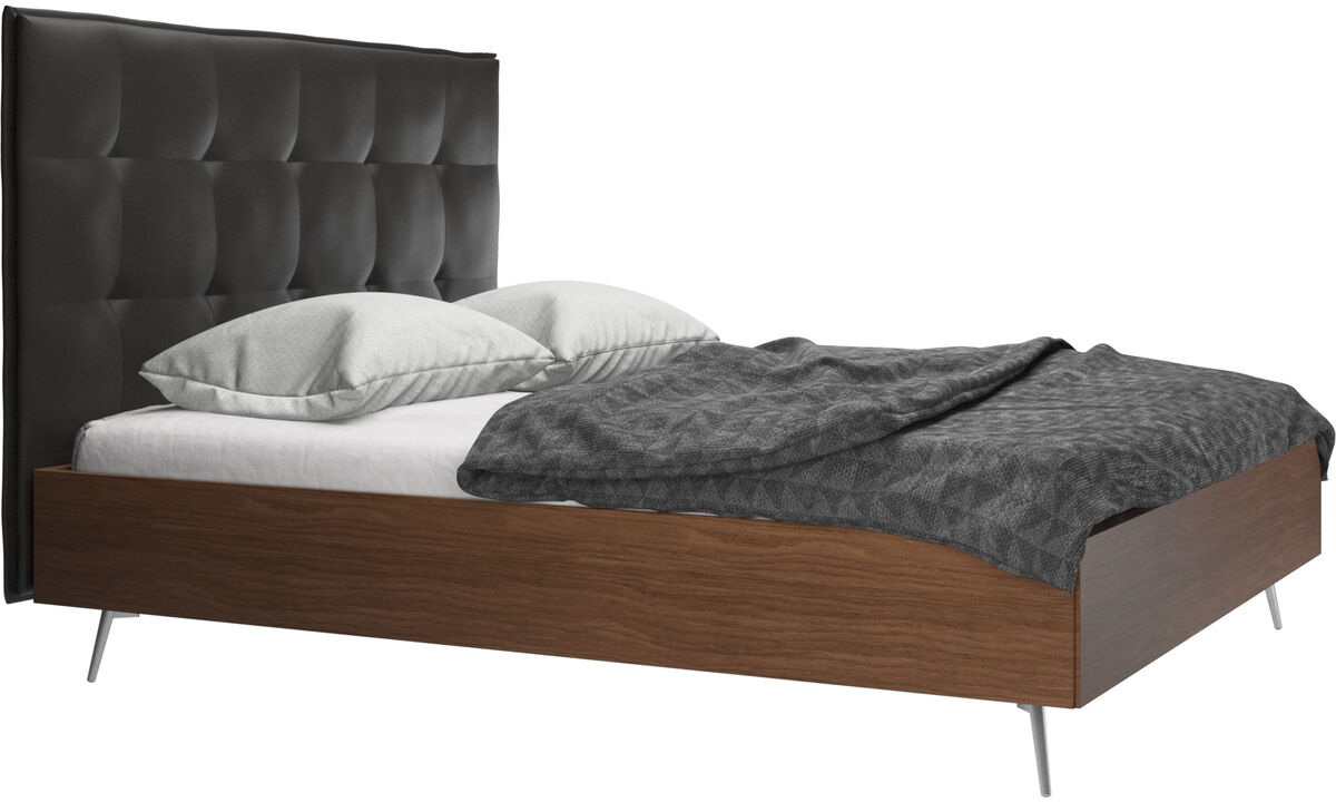 New beds - Lugano bed, excl. mattress - Black - Leather