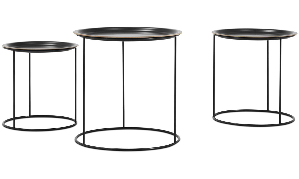Coffee tables - Cartagena nesting tables - round - Black - Lacquered