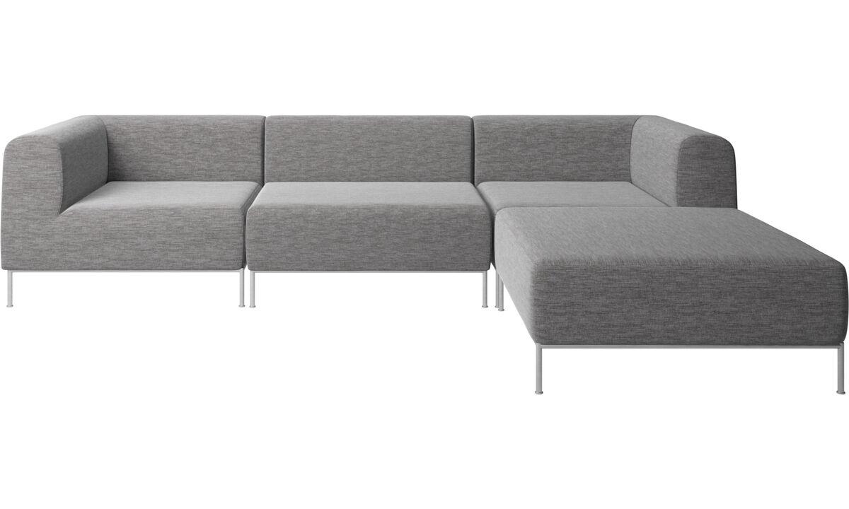 Sofaer med hvilemodul - Miami sofa med puf på højre side - Grå - Stof