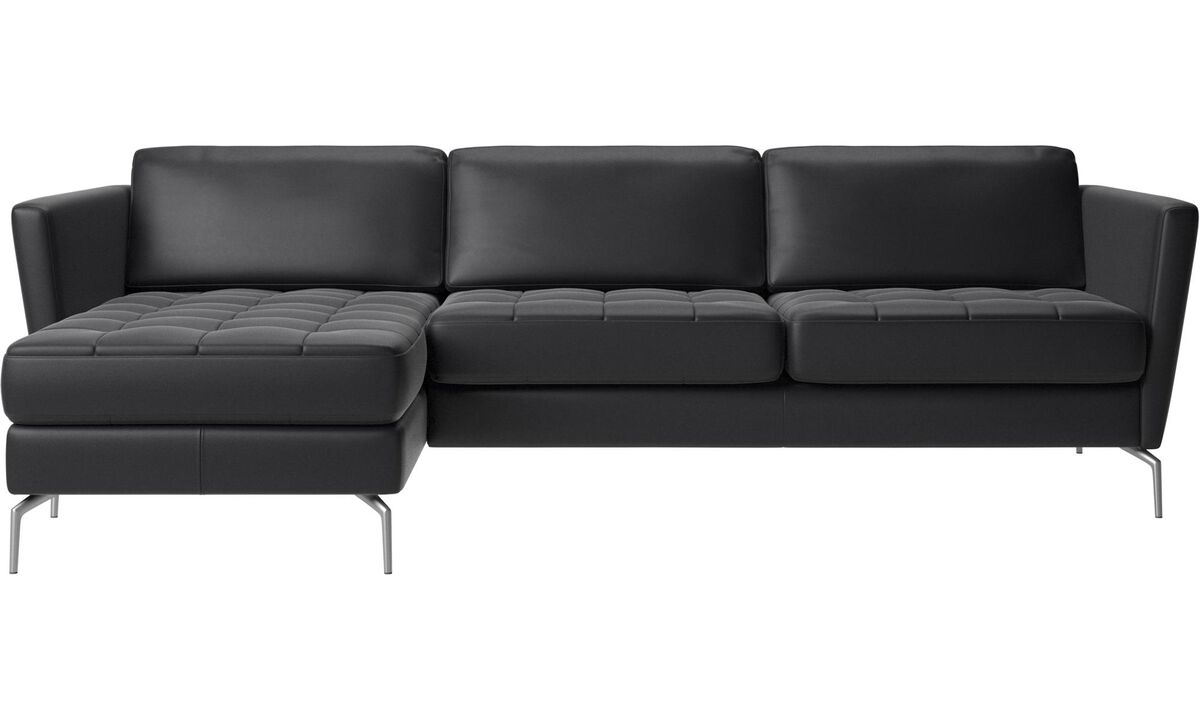 Chaise lounge sofas - Osaka sofa with resting unit, tufted seat - Black - Leather