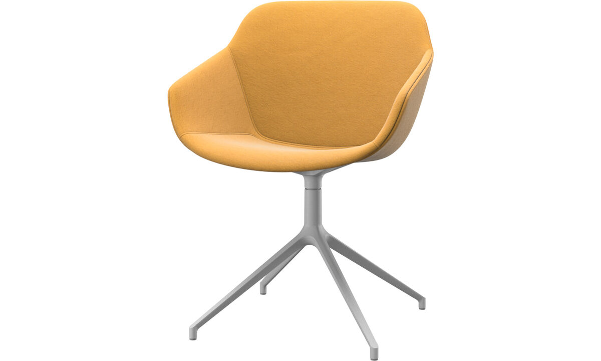 Dining chairs - Vienna chair with swivel function - Yellow - Fabric