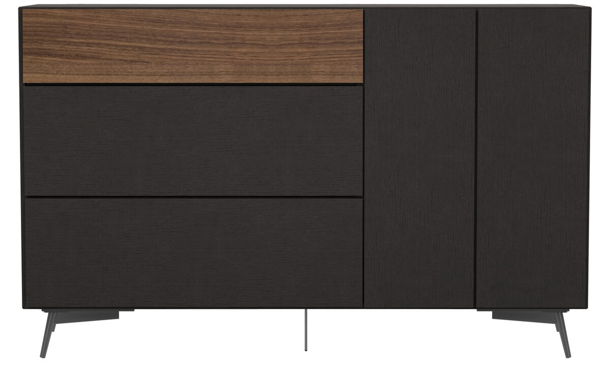 New designs - Lugano highboard with drawers and drop down door - Black - Oak