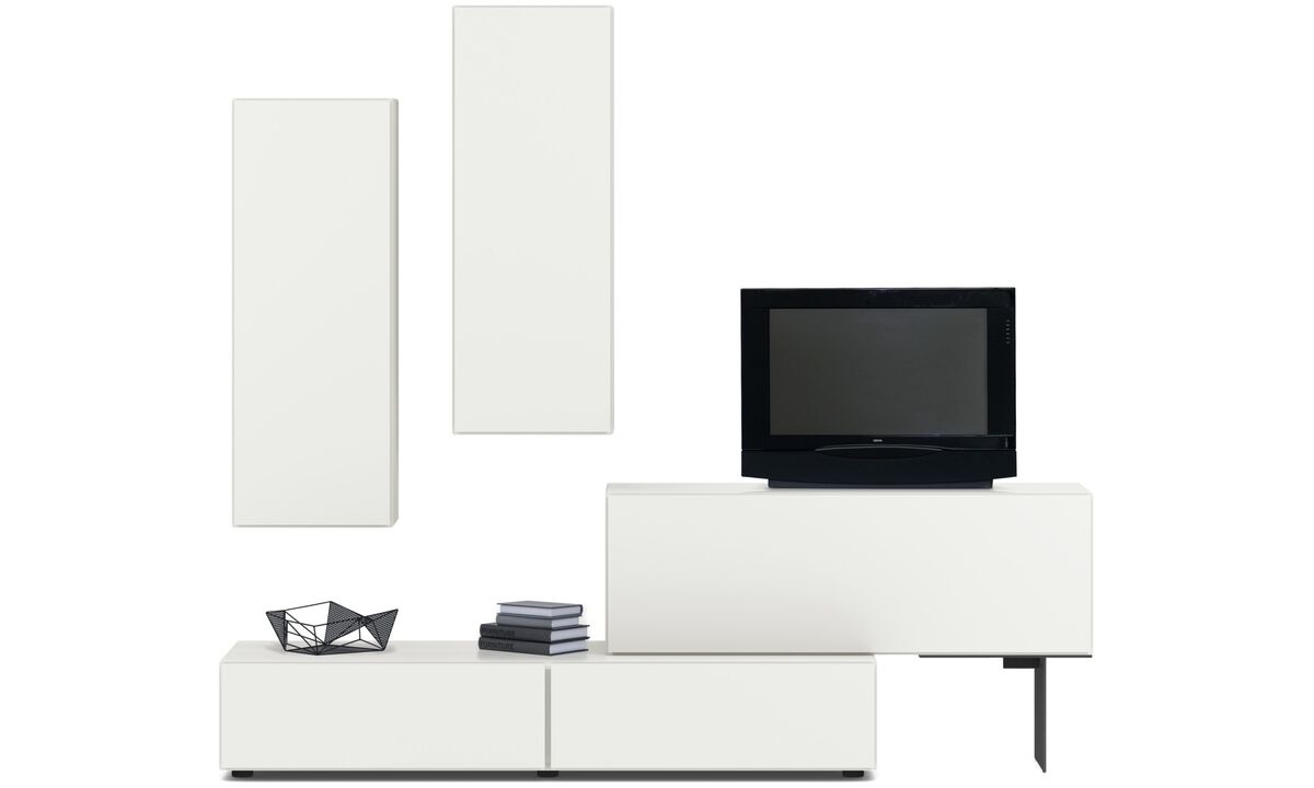 Wall Units - Lugano wall system with drop down doors and drawer - White - Lacquered
