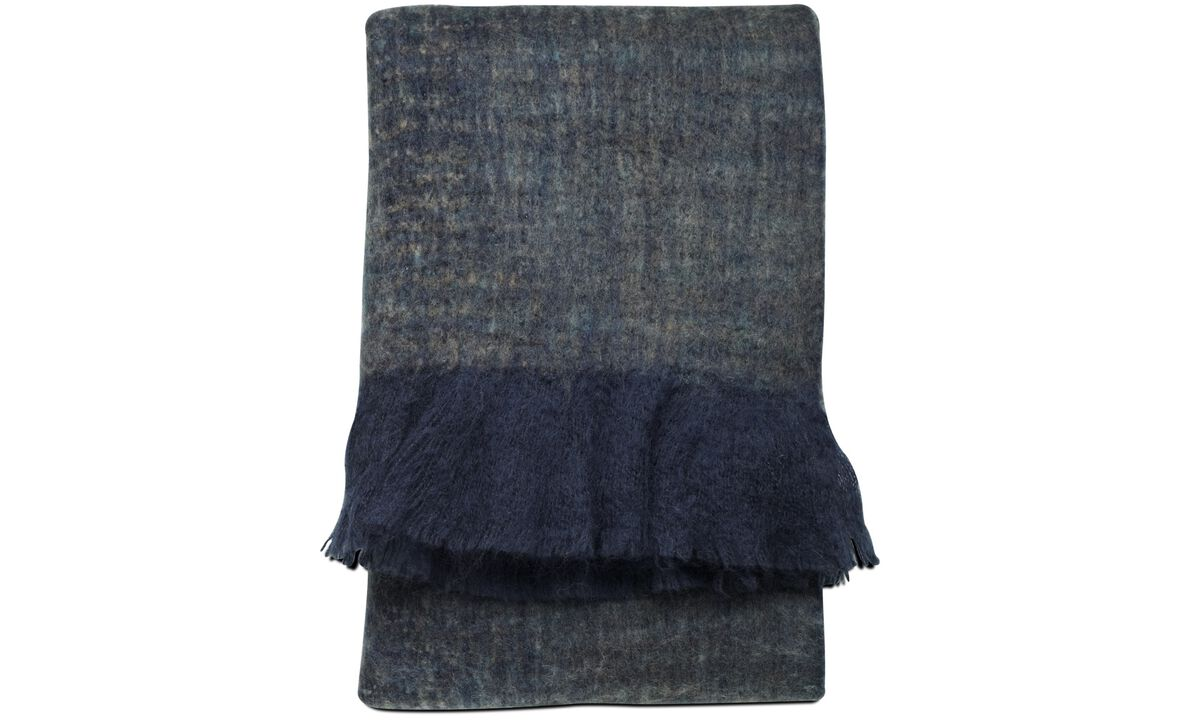 Throws & bedspreads - Knit plaid - Blue - Fabric