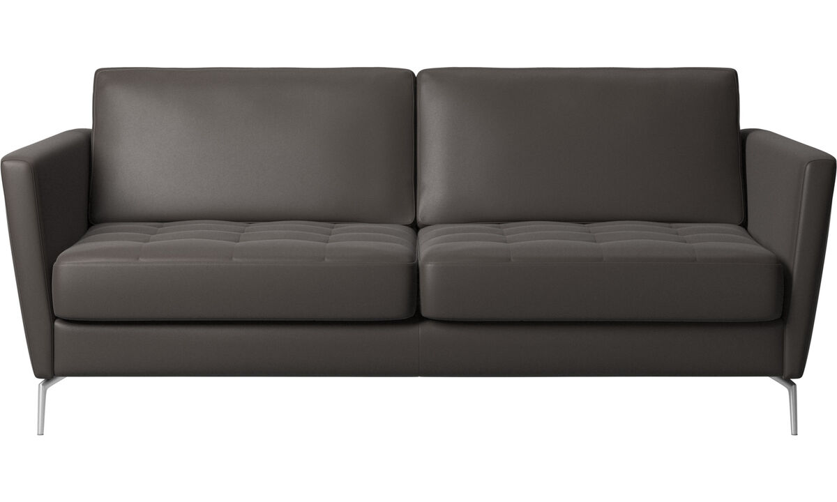 Sofa beds - Osaka sofa bed, tufted seat - Brown - Leather