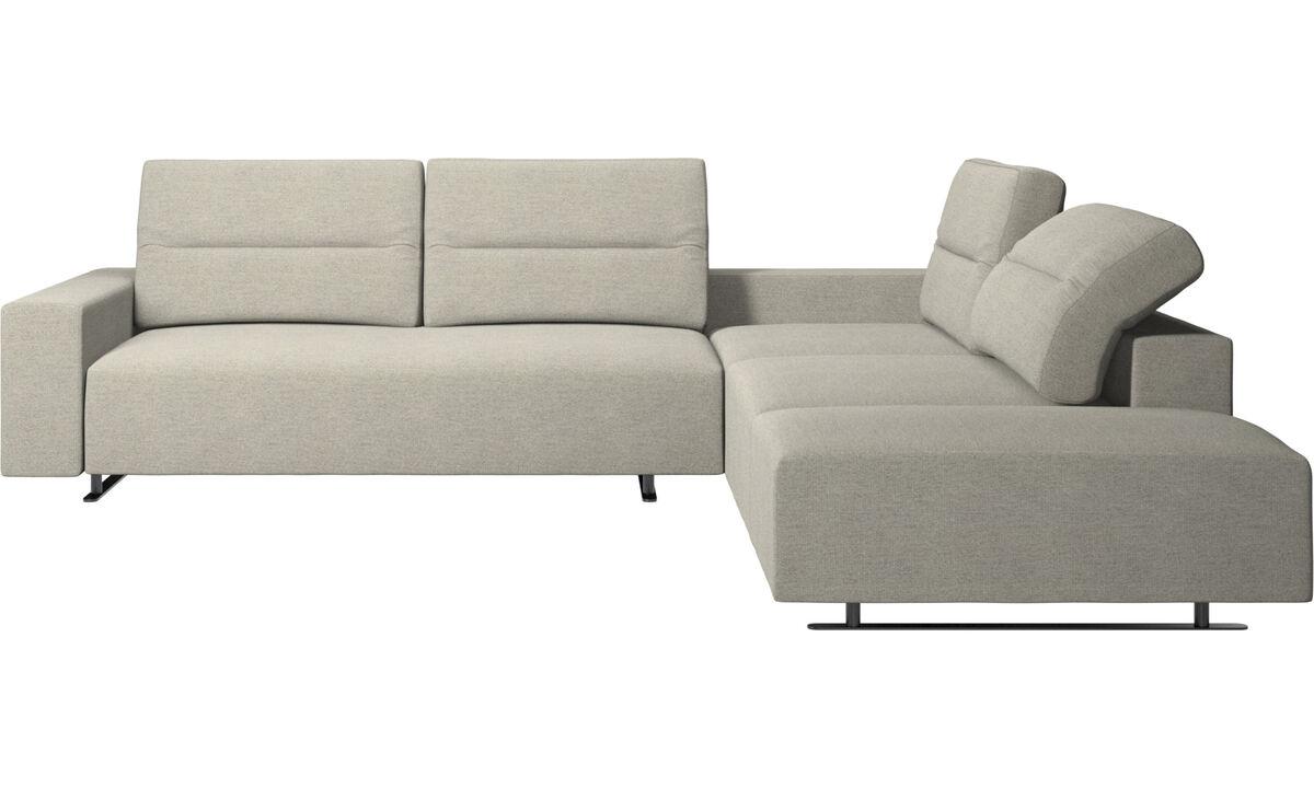 Угловые диваны - Угловой диван Hampton с регулируемой спинкой и модулем для отдыха - Бежевого цвета - Tкань