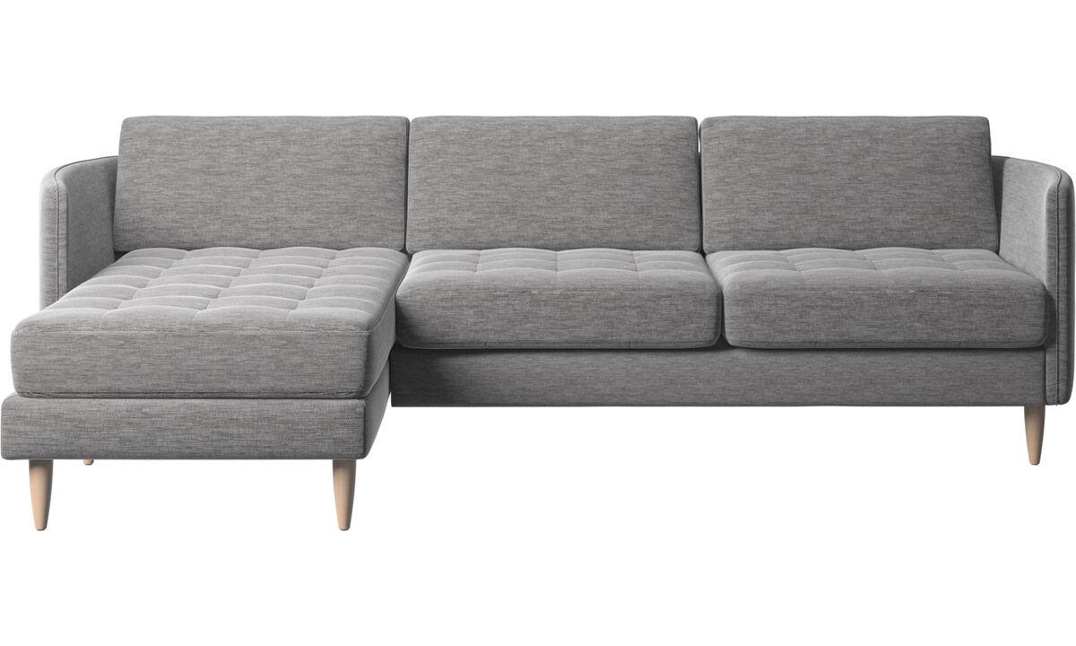 Sofás com chaise - Sofá Osaka com módulo chaise-longue, assento tufado - Cinza - Tecido