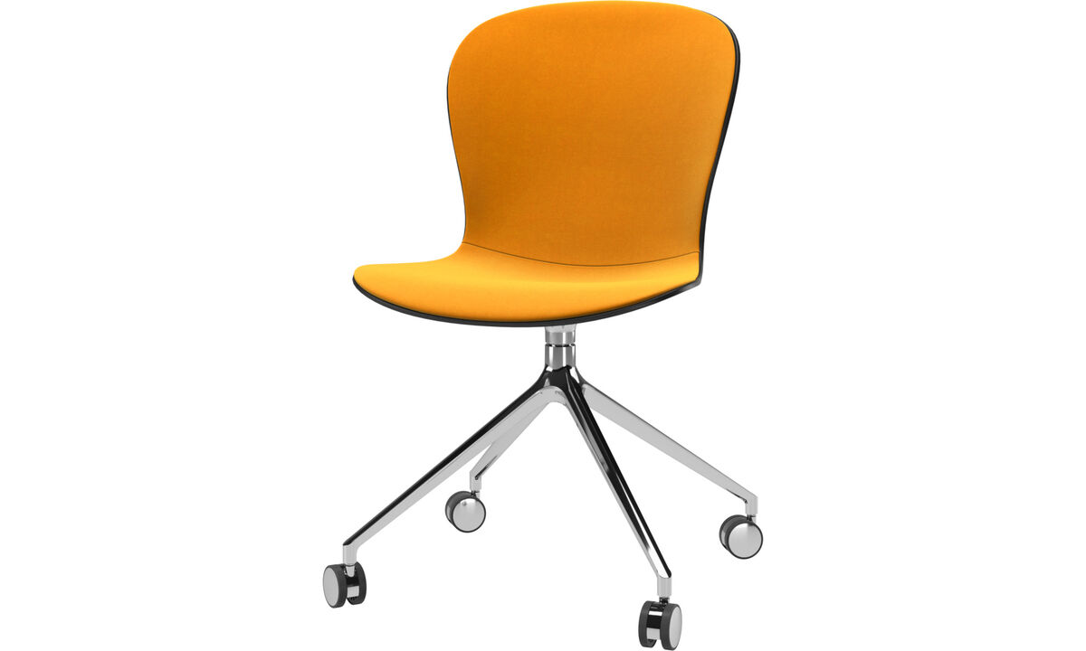 Dining chairs - Adelaide chair with swivel function and wheels - Orange - Fabric