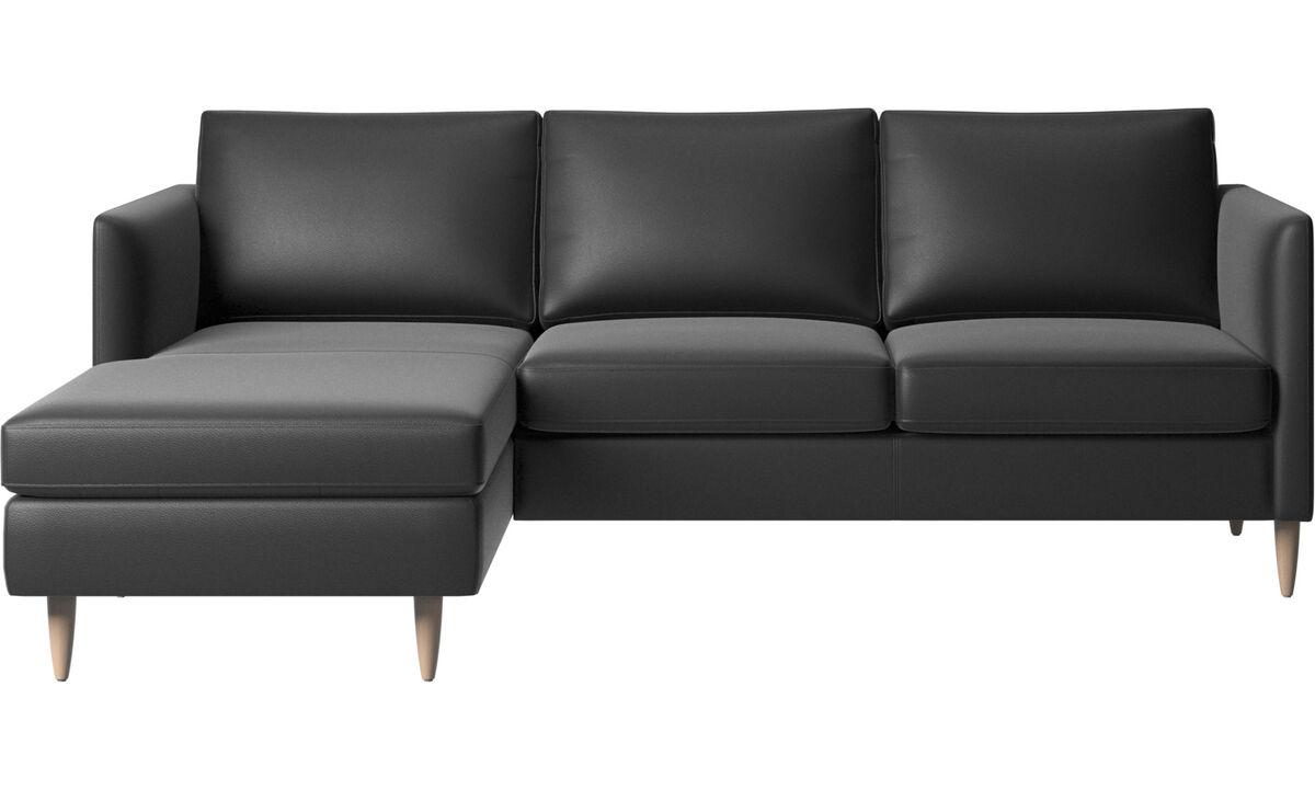 Canapés avec chaise longue - canapé Indivi avec chaise longue - Noir - Cuir