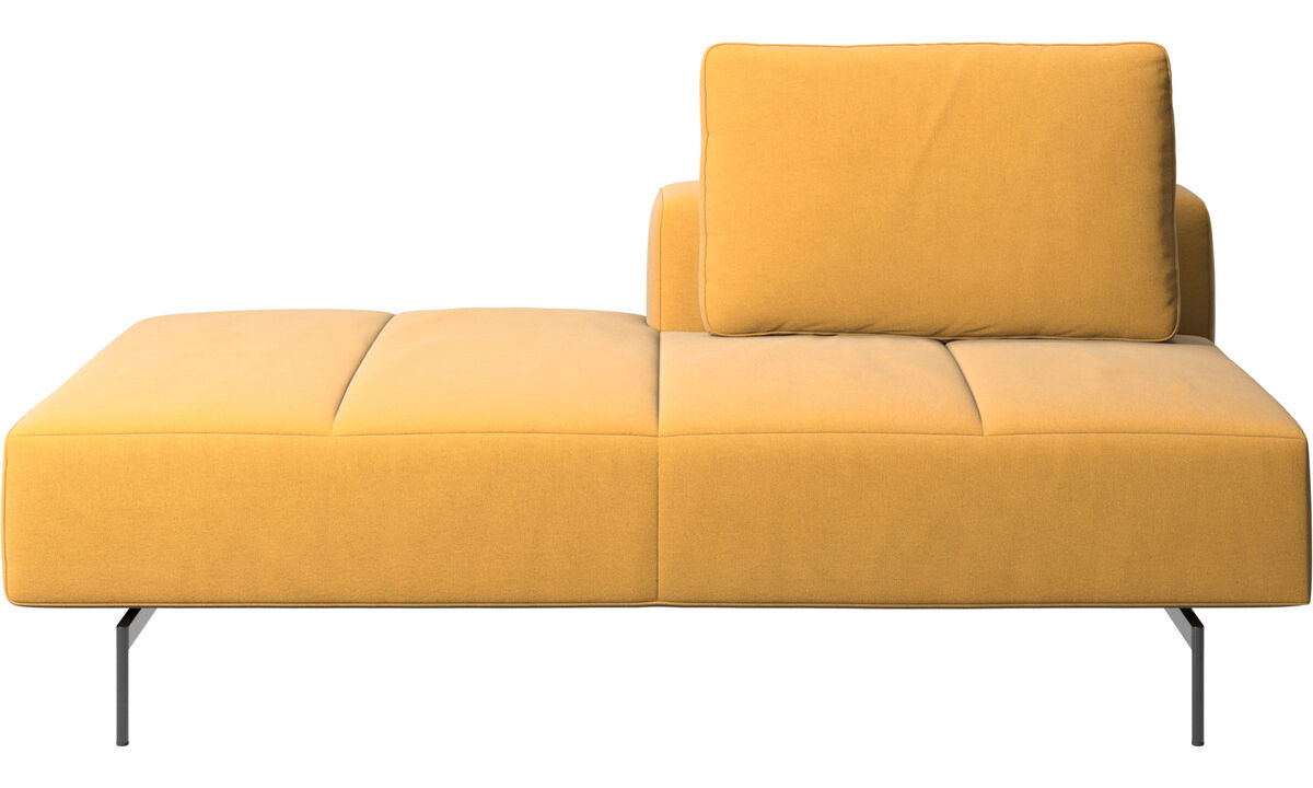 Sofás modulares - Módulo lounge para sofá Amsterdam, respaldar derecho, lado izquierdo abierto - En amarillo - Tela