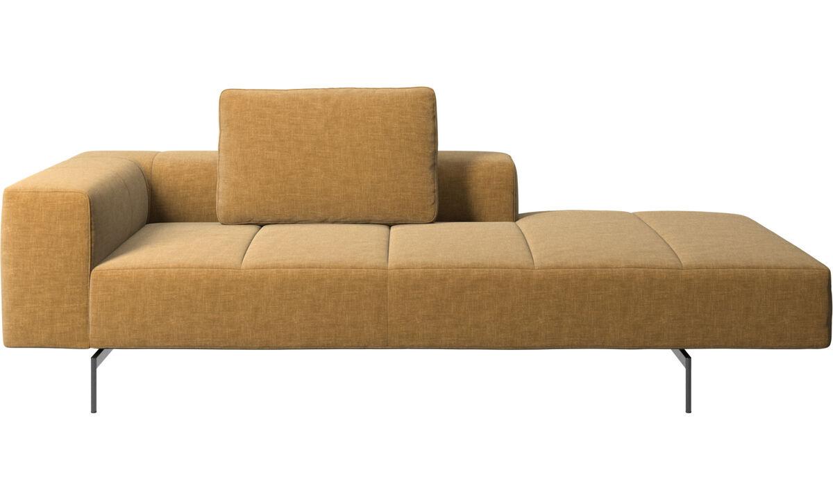 Sofás con chaise longue - Módulo lounge para sofá Amsterdam, reposabrazos izquierdo, lado derecho abierto - En beige - Tela