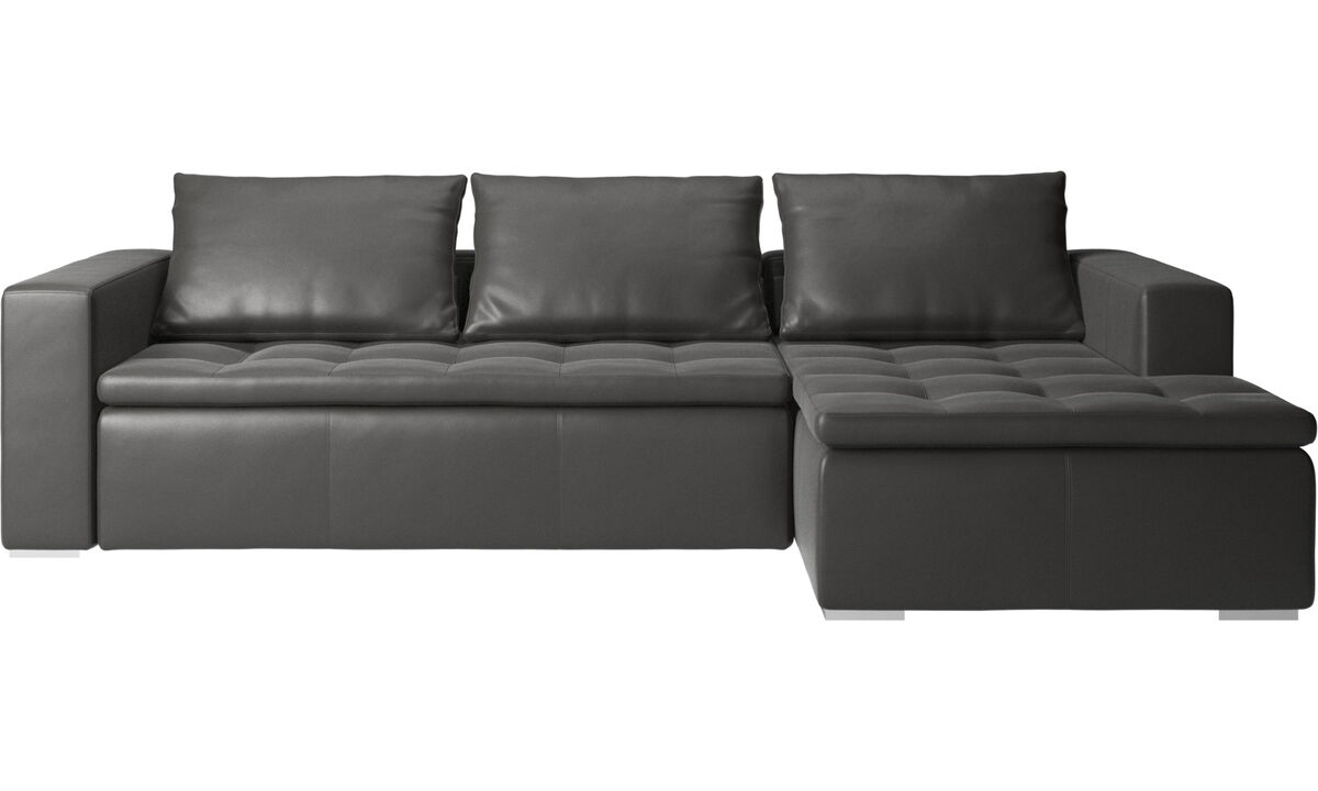 Chaise lounge sofas - Mezzo sofa with resting unit - Grey - Leather