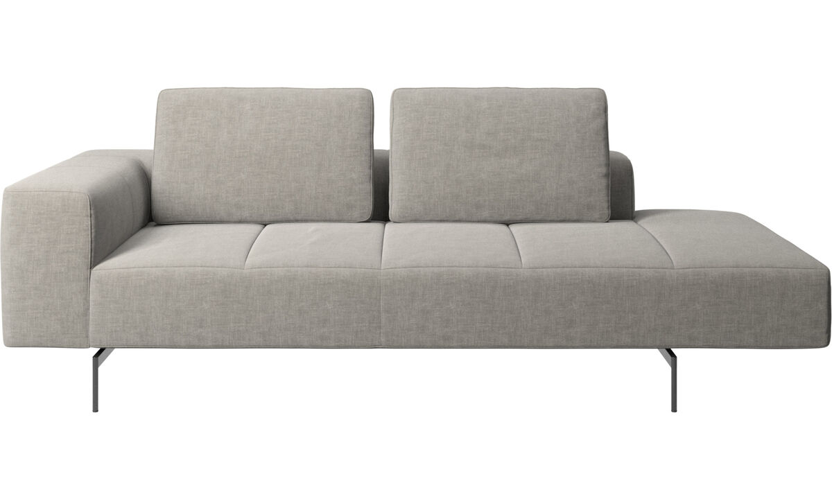 Chaise lounge sofas - Amsterdam resting module for sofa, armrest left, open end right - Gray - Fabric